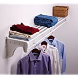 "EZ SHELF - 28"" - 49"" Expandable Closet Shelf & Hanging Rod - White with 1 End Bracket for Mounting to 1 Side Wall & Back Wall"