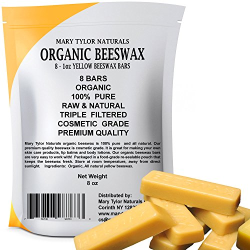 100% Organic Beeswax 8 x 1 oz Bars Made in the USA Hand Poured Premium Quality Cosmetic Grade Triple Filtered Beeswax Bars By Mary Tylor Naturals Great for DIY Lip Balms Body Creams Lotions Deodorants Cera Bath