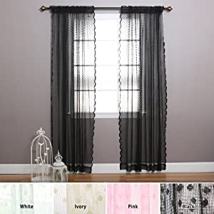 fashion jacquard sheer lace lovely dot curtains rod pocket black