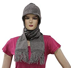 Romano Womens Winter Grey Wool Cap With Scarf Attached