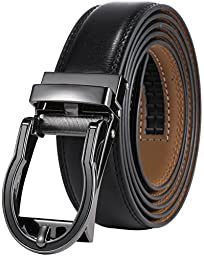 Marino Men\'s Genuine Leather Ratchet Dress Belt with Open Linxx Buckle, Enclosed in an Elegant Gift Box - Black Circular Open Buckle with Black Leather - Custom: Up to 44\