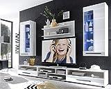 AVANTI TRENDSTORE - Wohnwand mit LED Beleuchtung in weiß