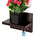 Bluewud Skywood Wall Mounted Key Holder/Key Rack Hooks with Decor Shelf (Wenge, 5 Keys, with Shelf) (Color: Wenge)