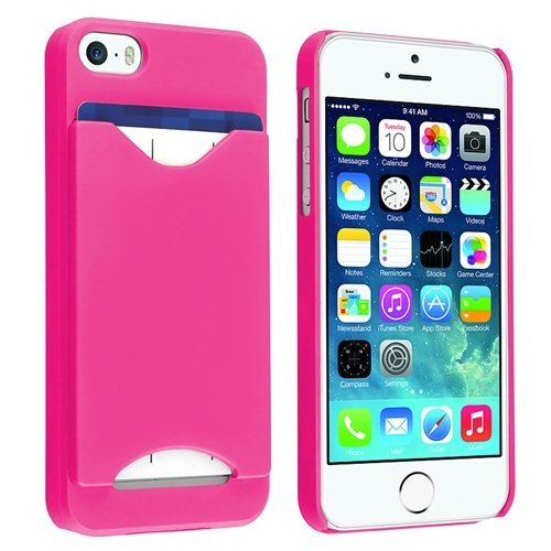 Importer520 Clip-On Case W/ Business Card Holder Compatible With Apple Iphone 5S / Iphone 5 Sprint, Verizon, At&T Wireless (Hot Pink)