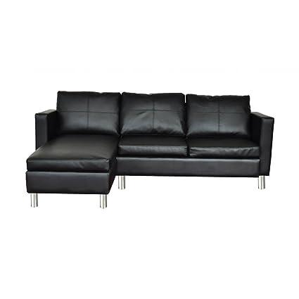 Otom-Sofá de cuero real 3 asientos negro