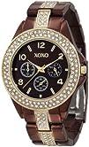 XOXO Womens XO5455 Rhinestone Accent Chocolate Brown Analog