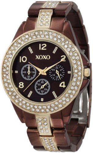 XOXO Womens XO5455 Rhinestone Accent Chocolate Brown Analog Bracelet Watch