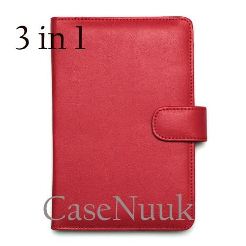 Red Kindle Fire Folio Case Cover w/ Screen Protector & Stylus
