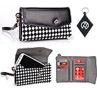 Checker Black White Carrying Wallet Case Phone Cover Fits Motorola DROID RAZR MAXX HD + NuVur $#153; Keychain (ESMLMKK1)
