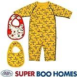 SUPER BOO HOMES(スーパーブーホームズ) 長袖2WAYロンパース&ビブセット(サーフアップ柄/PEANUTS/スヌーピー) スタイ カバーオール ボディースーツ ボディスーツ 下着 肌着 アンダーウェア SBH-4014726 イエロー 60cm