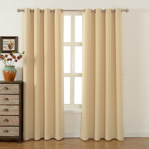 Blackout bedroom curtains set by amazlinen 100 polyester grommet top room darkening panels - Cortinas modernas para dormitorio ...