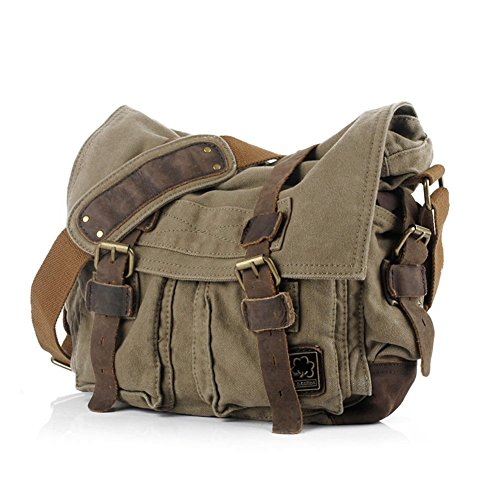 eBoTrade Men's Trendy Colonial Italian Style Messenger Bag with Leather Straps - Olive Drab Green (Messenger Bag Jack Bauer compare prices)