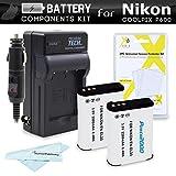 Kit de 2 Baterías y Cargador para Nikon COOLPIX P900, P610, P600 Wi-Fi cámara digital incluye protector de pantalla