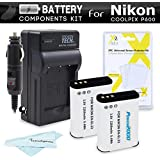 2 Pack Battery And Charger Kit For Nikon COOLPIX P900, P610, P600 Wi-Fi Digital Camera Includes 2 Extended Replacement (2200Mah) EN-EL23 Batteries + Ac/Dc Rapid Travel Charger + Screen Protectors