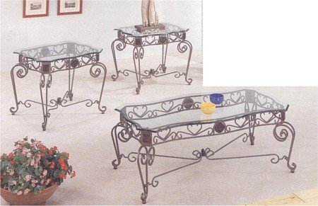 Cheap 3pc Wrought Iron Medallion Coffee Table + 2 End Table Set W/Ogee Glass