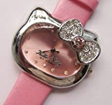 Cute Hello Kitty Bowknot Wrist Watch with Faux Leather Band – Pink