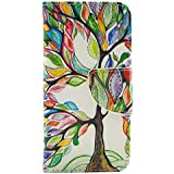 New Colourful Tree Ultra Slim Full-Body Protective Premium Stand Flip Leather Protector Case Cover for Apple Iphone 5C / 5 C