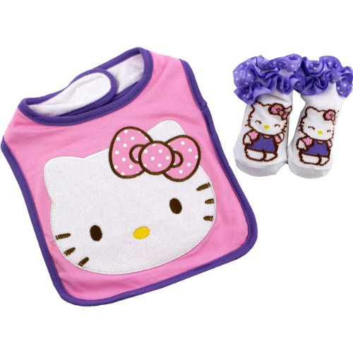 Hello-Kitty-Big-Face-Pink-Infant-Bib-Bootie-Socks-Set-OS