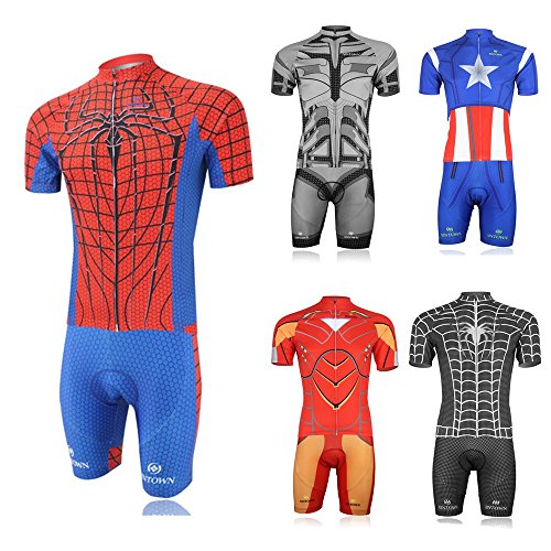 Weelly Summer Hero Men Short Sleeve Cycling Jersey Shirts Pants Coolmax Pad Iron Man Spiderman Superman Captain America Batman