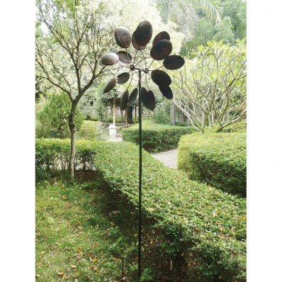 Big Modern Art Kinetic Outdoor Metal Dual Wind Sculpture Spinner Pinwheel