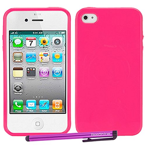 Beeshine Retail Package Sweet Candy Jelly Color Slim-Fit Iphone 4/4S Soft Rubber Skin Tpu Gel Case Cover With Lcd Film Screen Protector & Touch Stylus Pen For Apple Iphone 4 4G 4S (At&T, Sprint, Verizon, T-Mobile, All Model) (Hot Pink Jelly)