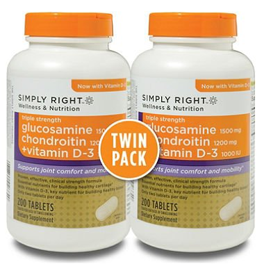 Simply Right Glucosamine Chondroitin + Vitamin D-3, 200 Tablets, 2 Pack