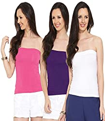Espresso Women's Strapless Bandeau Tube Tops - A Pack of 3 - Fuschia/Grape/White