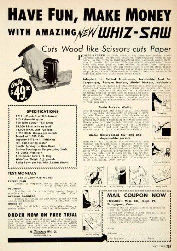 1949 Advertisement Whiz-Saw Forsberg Bridgeport Electric Hand Saw Power Tool - Original Print Ad