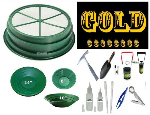 "Vas 16 Pc Gold Panning Set -1/4"" Classifier / Sifter. 3 Gold Pans & 12 Essentials Kit"
