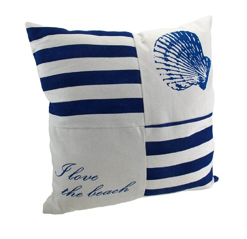 Navy And White Canvas Beach Themed Throw Pillow 15 In.