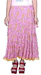 Pezzava Pink Colour Printed M.Skirt