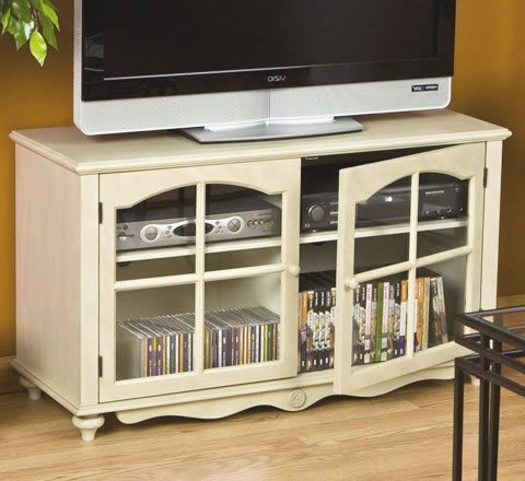 Image of Antique White Small TV Stand (B000P143ZC)