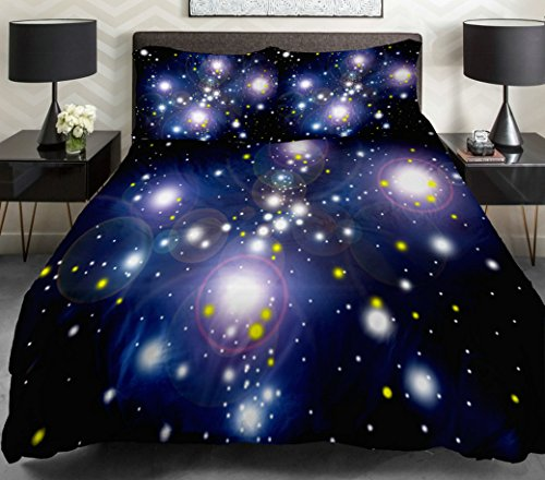 Anlye Galaxy Quilt Cover Galaxy Duvet Cover Galaxy Sheets Space Sheets Outer Space Bedding Set With 2 Matching Pillow Covers (Queen) front-595469