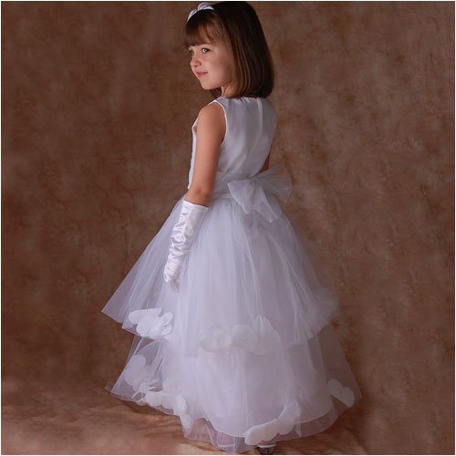 Sophias Style Boutique White Petal Wedding Flower Girl Pageant Dress 2T-14