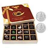 Chocholik Belgium Chocolates - Beautiful 20 Pc Mix Assorted Chocolate Box With 5gm X 2 Pure Silver Coins - Diwali...