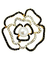 Silver Shoppee Ring Of Undying Love 21K Yellow Gold Plated Cubic Zirconia And Pearl Studded Alloy Brooch