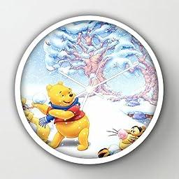 10 Inch Art Wall Clock Winnie The Pooh3 White Frames Wall Decor Clock