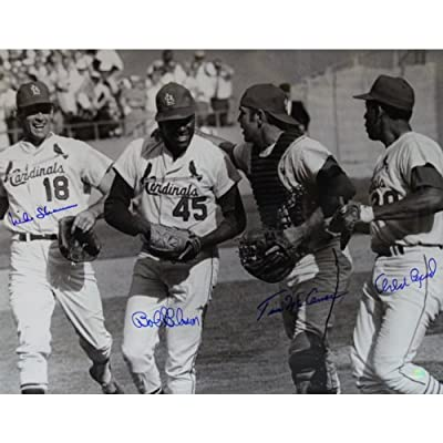 St. Louis Cardinals 16 Inch X 20 Inch Photo Autographed Bob Gibson Tim Mccarver Mike Shannon Orlando Cepeda
