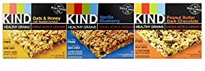 Kind Healthy Grains Granola Bars, Super Variety 3-pack (Each Flavor 1.2 Oz X 5 Count Box) -Peanut Butter Dark Chocolate + Vanilla Blueberry + Oats & Honey Coconut