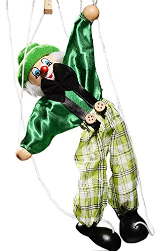 New Listed Children Educational Toy Cute Clown Doll High Quality Wooden Marionette Toys-Green