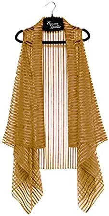 Accents by Lavello Sheer Designer Vest, Bronze Jasper Stripe at Amazon
