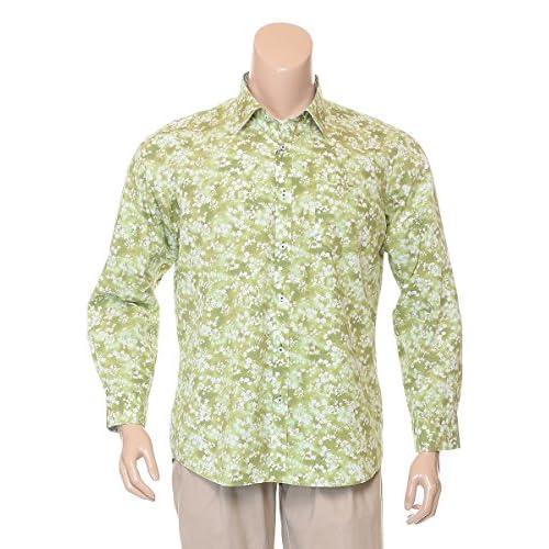 (インターメッツォ) INTERMEZZO 大きいサイズ メンズ 花柄 レギュラーカラー 長袖シャツ 【4315225004】 グリーン / 3L