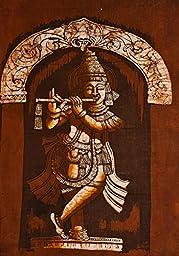 Krishna as Venugopala - Batik Painting On Cotton
