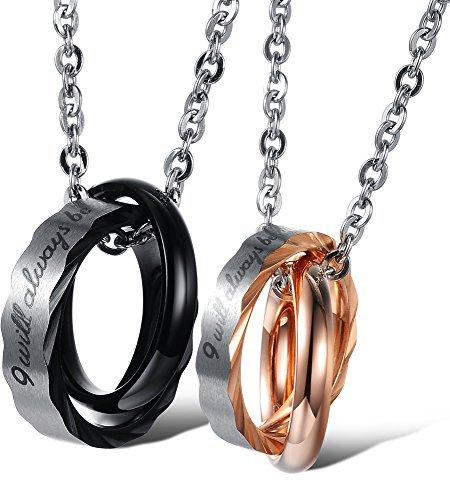 """Ostan - """"Love Eternity"""" 316L acciaio inossidabile metallo con zircone Blocco doppio anello Pendente Collane da coppie - nuovo gioielli modo coppie collana, oro e nero"""