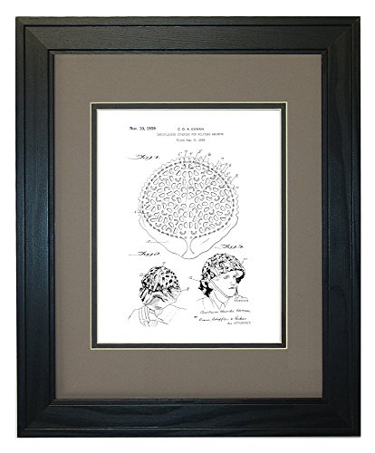 "Camouflaging Covering For Military Helmets Patent Art White Matte Print in a Solid Pine Wood Frame with a Double Mat (11"" x 14"")"