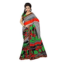 Mahadev Enterpris Women's Georgette Saree Printed Less Works Border With Unstitched Blouse Piece (Multi-Coloured, Freesize , MPJ_370 )