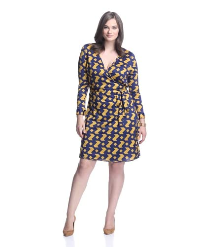 JB by Julie Brown Pl Women's 3/4 Sleeve Wrap Dress  [Navy/Gold Houndstooth]