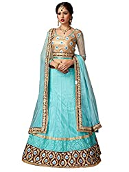 Naari Collection Women Net Ceremony Lehenga Choli (1955-C-SkyBlue)