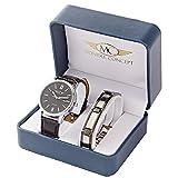 Montre-Concept - coffret cadeau montre homme avec un bracelet acier - montre analogique - bracelet noir cadran rond fond noir : BH1-1-0067