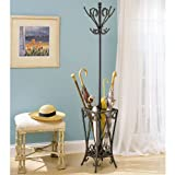 Matte Black with Gold Coat Rack and Umbrella Stand